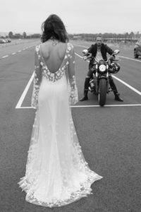 Sage wedding dress by Rime Arodaky
