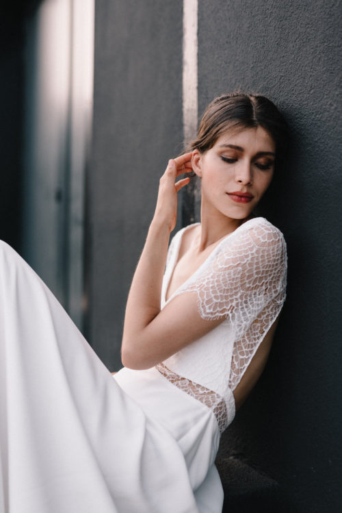 Anthuria wedding dress by Mademoiselle de Guise available at The Mews Bridal