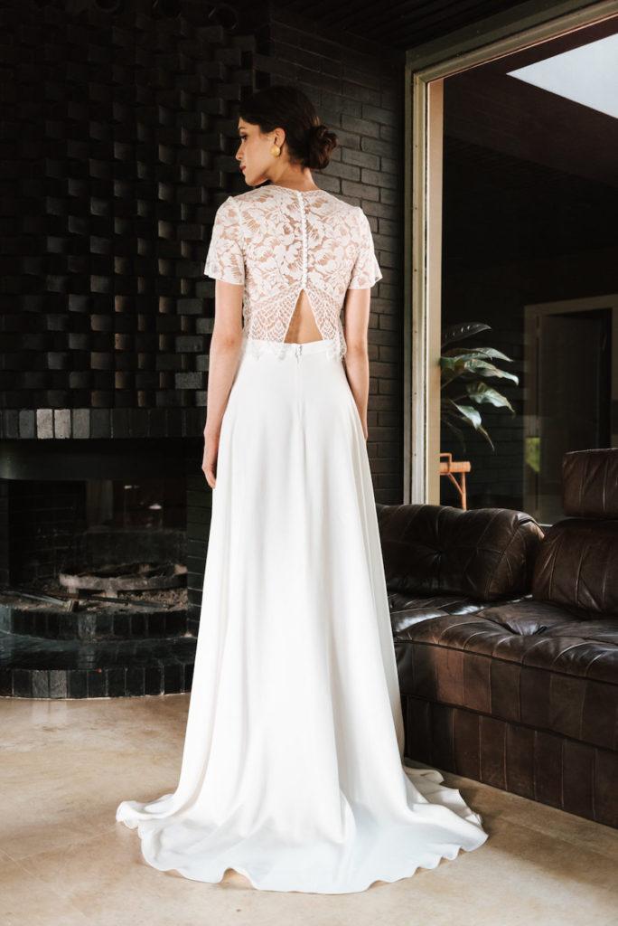 Jill (top) and Sylvette (skirt) wedding dress by Mademoiselle de Guise