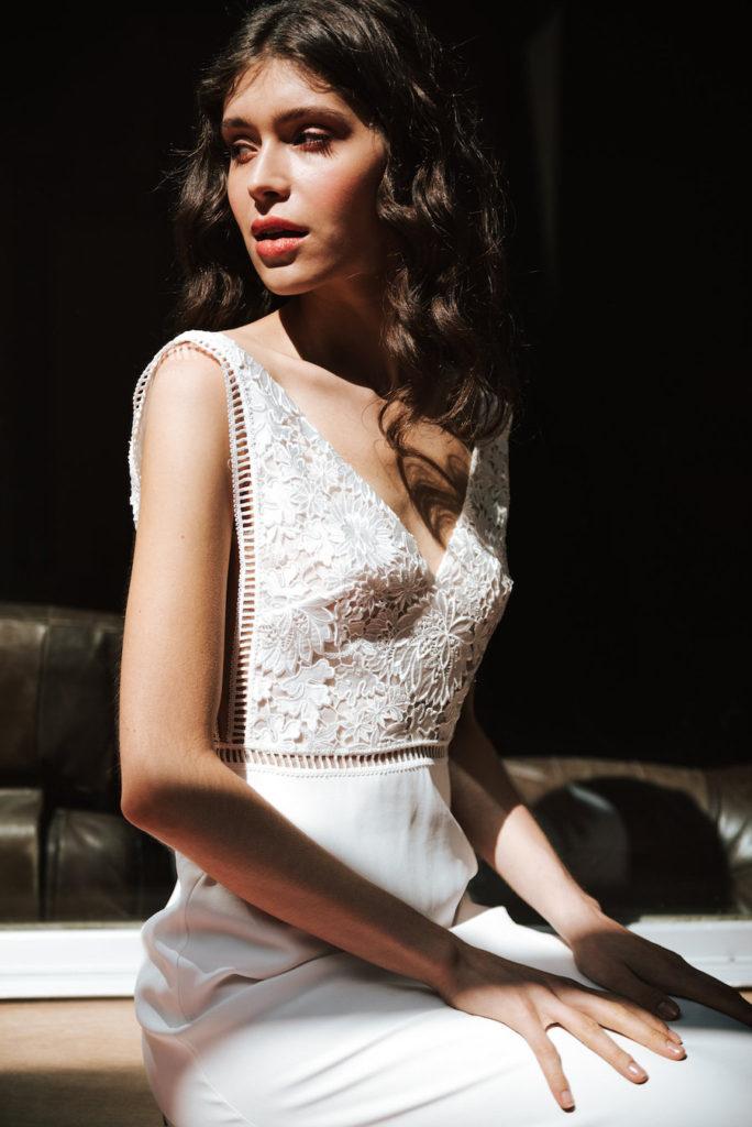 Voilette wedding dress by Mademoiselle de Guise